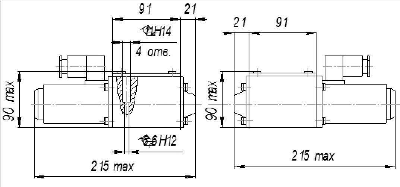 Габаритные и присоединительные размеры в мм гидрораспределителей ВЕ10