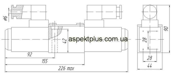 Габаритные и присоединительные размеры распределителя ПЕ-6, 1РЕ-6