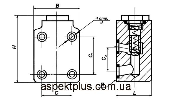Размеры клапанов обратных ПГ51-22, ПГ51-24