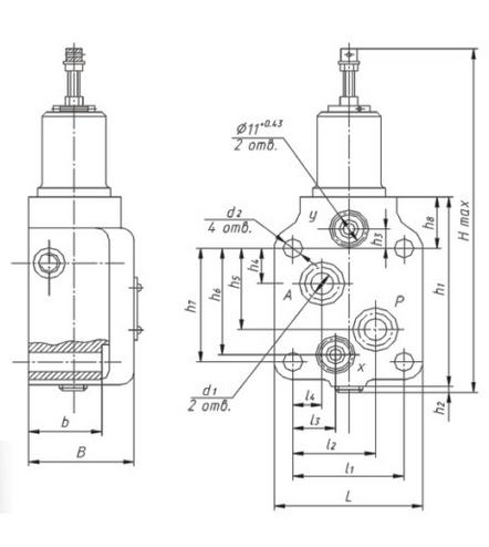 Размеры гидроклапана давления типа ПГ54-32 (стыковое присоединение)
