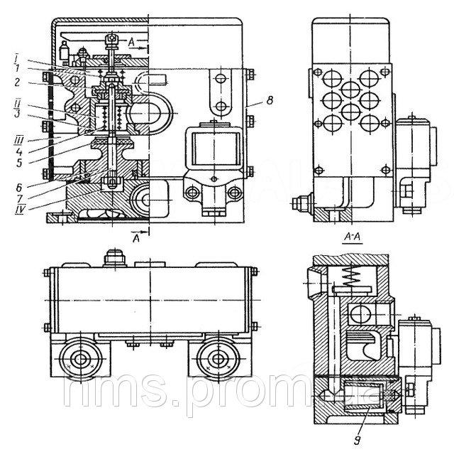 Трёхходовой сдвоенный сблокированный клапан, применявшийся на гильотине НД3312Г