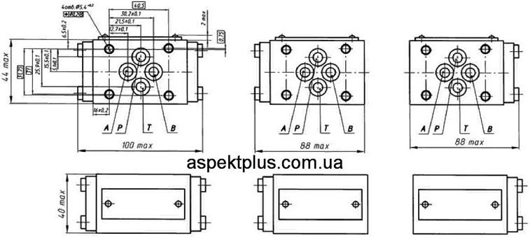 Присоединительные размеры гидрозамков ГЗМ6/3М, ГЗМ10/3М