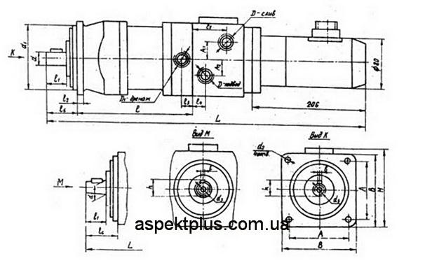 Габаритные и присоединительные размеры гидроусилителей Э32Г18-22К, Э32Г18-23К, Э32Г18-24К