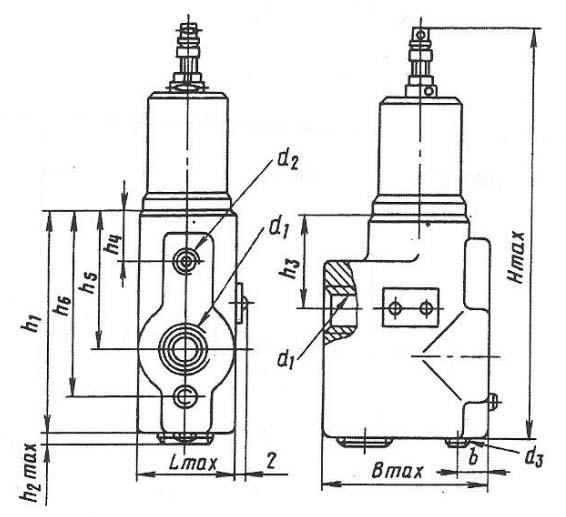 Размеры клапанов трубного монтажа Г66-32(М), Г66-34(М), Г66-35(М)