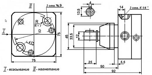 Габаритные и присоединительные размеры насосов С12-41, С12-42, С12-43