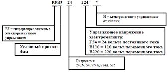 Идентификационный код и параметры гидрораспределителей ВЕ43