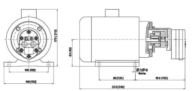Габаритные и присоединительные размеры насосов БГ11-11, БГ11-11А