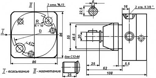 Габаритные и присоединительные размеры насоса С12-44