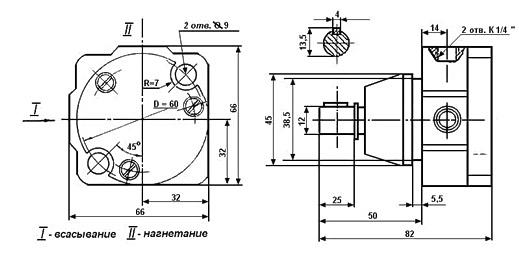 Габаритные и присоединительные размеры насосов С12-51, С12-52, С12-53