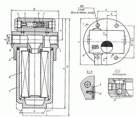 Габаритные и присоединительные размеры фильтров Ф7, Ф7М