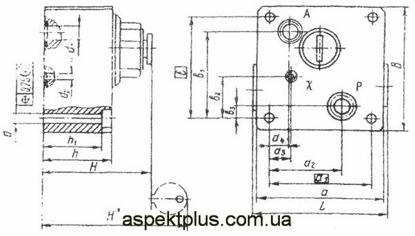 Габаритные и присоединительные размеры МПГ55-25М, МПГ55-22М, МПГ55-24М
