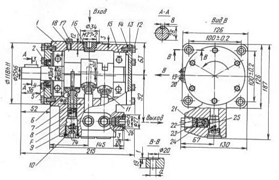 Габаритные и присоединительные размеры, принцип работы насоса Н400 (Н401, Н403)