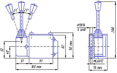 Габаритные и присоединительные размеры в мм гидрораспределителей ВММ10