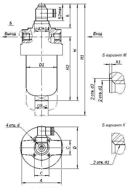 Габаритные и присоединительные размеры фильтров ФГМ 16