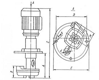 Габаритные и присоединительные размеры электронасосов ПА-22, П-25М, Х14-22М, П-32М, ПА-45, П-50М, ПА-90, П-100М, ПА-180, П-200М