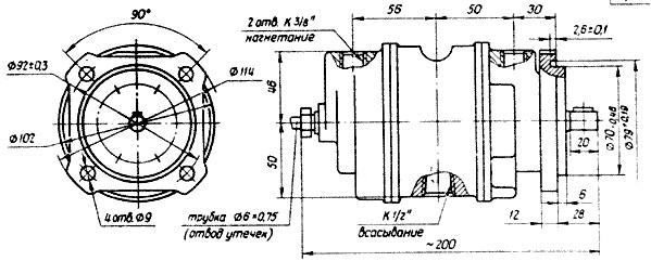 Габаритные и присоединительные размеры насосов БГ12-4