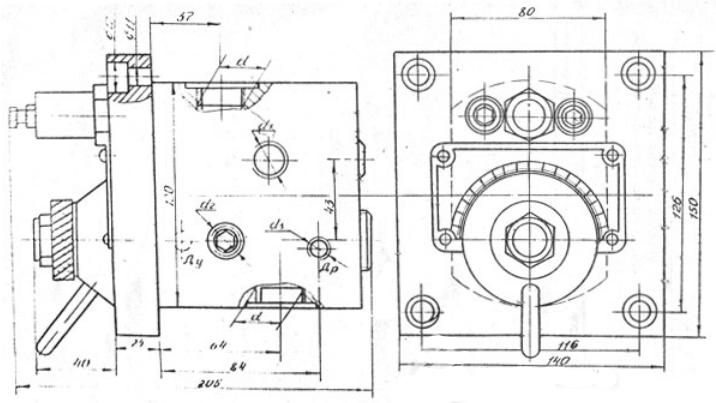Габаритные и присоединительные размеры Г55-13(14), Г55-23(24)
