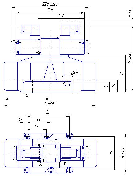 Габаритные и присоединительные размеры гидрораспределителей 1Р203АЛ, 1Р203БЛ, 1Р203АЕ, 1Р203БЕ