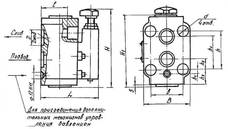 Габаритные и присоединительные размеры клапанов 20-10-2-11, 20-20-2-11, 20-32-2-11 (стыковое исполнение)
