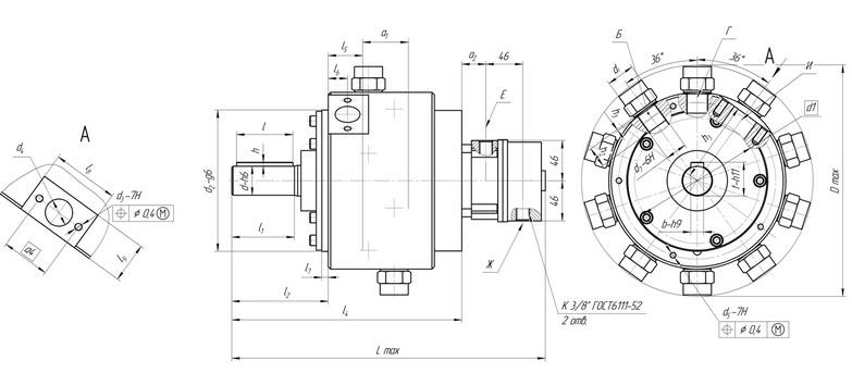 Основные габаритные и присоединительные размеры насосов нерегулируемых 50НР с рабочим объёмом от 4 см³ до 32 см³