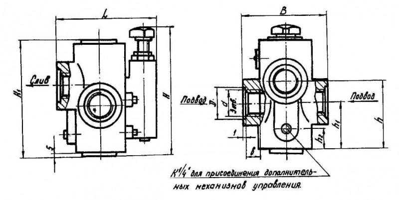 Габаритные и присоединительные размеры клапанов 20-10-1-11, 20-20-1-11, 20-32-1-11 (резьбовое исполнение М33х2)